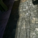 schaduw op de grond tijdens opbouw